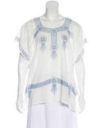 The Great - Embroidered Short Sleeve Top - Lyst