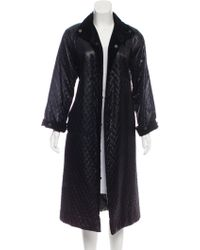 Givenchy - Quilted Long Coat Navy - Lyst
