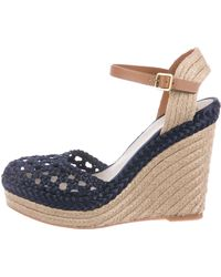 b74415f1ee8a Tory Burch - Jute-trimmed Wedge Sandals Blue - Lyst