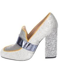 Mary Katrantzou - Athos Velvet Loafer Pumps Silver - Lyst