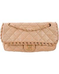 2e89f371c8de Lyst - Chanel Vintage Classic Medium Double Flap Bag Navy in Metallic