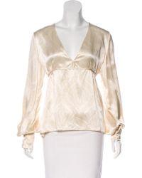 Luisa Beccaria - Silk Printed Blouse Neutrals - Lyst