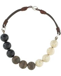 Brunello Cucinelli - Agate & Leather Bead Necklace Silver - Lyst