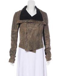 VEDA - Knit-paneled Leather Jacket - Lyst