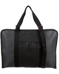 Bottega Veneta - Leather Intrecciato-trimmed Briefcase - Lyst