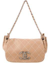 0dfc688497ba3f Chanel - Diamond Stitch Accordion Flap Bag Brown - Lyst