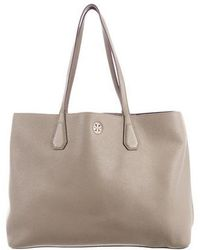 Lyst - Tory Burch Perry Leather Tote Gold in Metallic c29bdb6fd5244