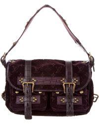 Louis Vuitton - Alligator & Ostrich-trimmed Velours Clyde Bag Purple - Lyst
