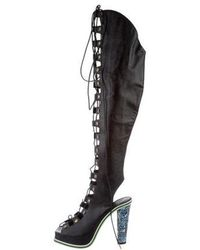 Rodarte - Embossed Lace-up Boots Black - Lyst