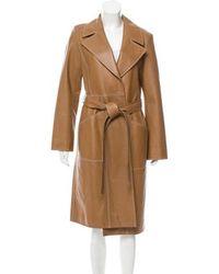 Yves Salomon - Longline Leather Coat W/ Tags Neutrals - Lyst
