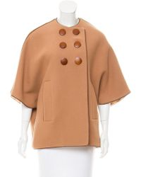 Martin Grant - Leather-trimmed Wool-angora Poncho Wool - Lyst