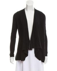 Alice + Olivia - Leather-trimmed Open Front Cardigan - Lyst