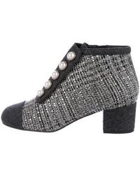 Chanel - 2017 Tweed Booties Grey - Lyst