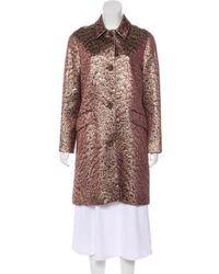 Peter Som - Long Sleeve Brocade Coat Brown - Lyst