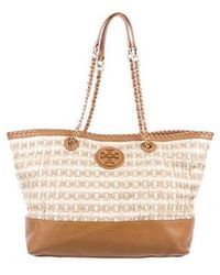 Tory Burch - Marion Straw Tote Natural - Lyst
