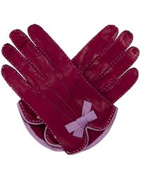 Marc Jacobs | Leather Bow-embellished Gloves Magenta | Lyst