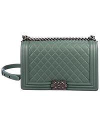8e7a4463d559 Lyst - Chanel Large Calfskin Messenger Bag Black in Metallic
