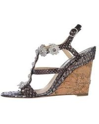Chanel - Camellia Python Wedge Sandals - Lyst