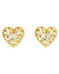 Christian Lacroix - Crystal Heart Clip-on Earrings Gold - Lyst