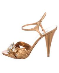 Miu Miu - Miu Leather Sandals - Lyst