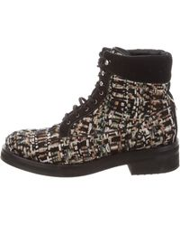 Chanel - Tweed Ankle Boots - Lyst