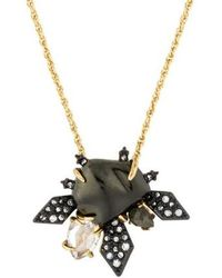 Alexis Bittar - Faux Pearl & Spiked Crystal Pendant Neckalce Bronze - Lyst