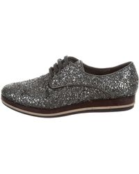 78f85b2e8d2a Lyst - Miu Miu Miu Glitter Round-toe Oxfords Silver in Metallic