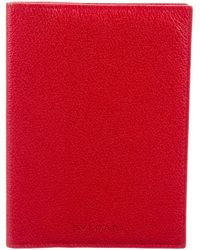 BVLGARI - Grained Leather Passport Cover - Lyst
