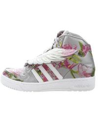 210851e71648 Lyst - Jeremy Scott For Adidas Shearling-trimmed High-top Sneakers ...