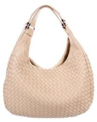 90ce73fc1e Lyst - Bottega Veneta Intrecciato-trimmed Leather Hobo Black in Natural