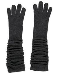 Alice + Olivia - Ruched Merino Wool Gloves Grey - Lyst