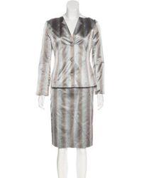 Carolina Herrera - Silk Jacket And Skirt Set Brown - Lyst