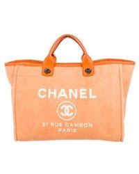 Chanel - Large Deauville Shopper Orange - Lyst