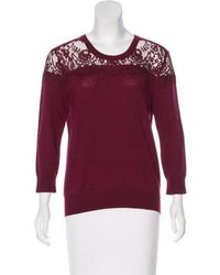 Erdem - Lace-accented Knit Sweater - Lyst