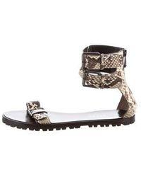 Belstaff - Python Slingback Sandals Beige - Lyst