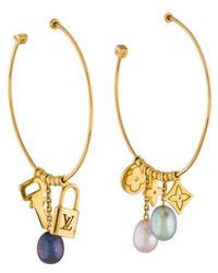 Louis Vuitton - Monogram Charm Pearl Hoop Earrings Yellow - Lyst