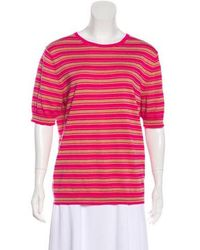 Dries Van Noten - Striped Short Sleeve Top Fuchsia - Lyst