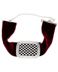 Fallon - Toria Dotted Crystal Buckle Choker Silver - Lyst