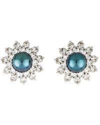 Judith Leiber - Faux Pearl & Crystal Clip-on Earrings Silver - Lyst