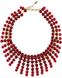 Dior - Resin Bead Collar Necklace Gold - Lyst