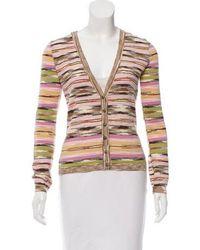 M Missoni - Wool Patterned Cardigan Multicolor - Lyst