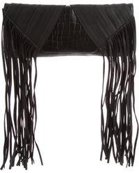 Hervé Léger - Fringe-trimmed Leather Clutch Black - Lyst
