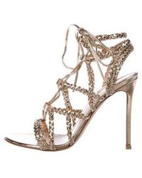 Gianvito Rossi - Lace-up Sandals Gold - Lyst
