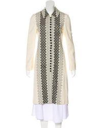 Carolina Herrera - Embroidered Long Coat Cream - Lyst