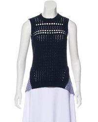 Veronica Beard - Sheer Sleeveless Sweater Navy - Lyst