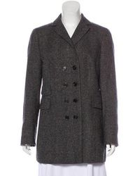 Akris - Double-breasted Wool Coat Grey - Lyst