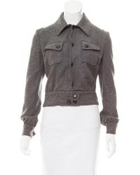 CoSTUME NATIONAL - Cropped Wool Jacket Grey - Lyst