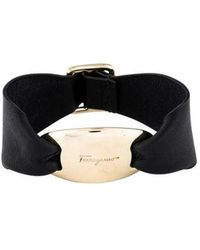 Ferragamo - Leather Bracelet Black - Lyst