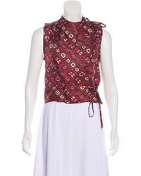 8f054b22925f7 Lyst - Isabel Marant Printed Silk Top Multicolor in Red