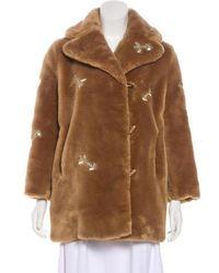 Carven - Faux Fur Short Coat Tan - Lyst